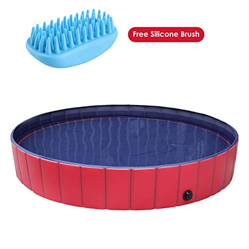 pedy Dog Swimming Pool with Brush, Collapsible Pet Bath Pool Foldable Bathing Tub Kiddie Pool for Dogs Cats and Kids(M-46.4 X 12.4 in)