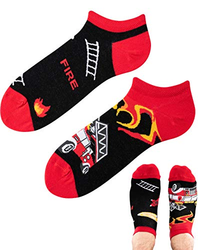 TODO Colours Motiv Sneaker-Socken ON FIRE Feuerwehrmann LOW Lustige Feuer socken Damen und Herren, mehrfarbige, verrückte, bunte Knöchelsocken (Feuerwehrmann Low, 43-46)