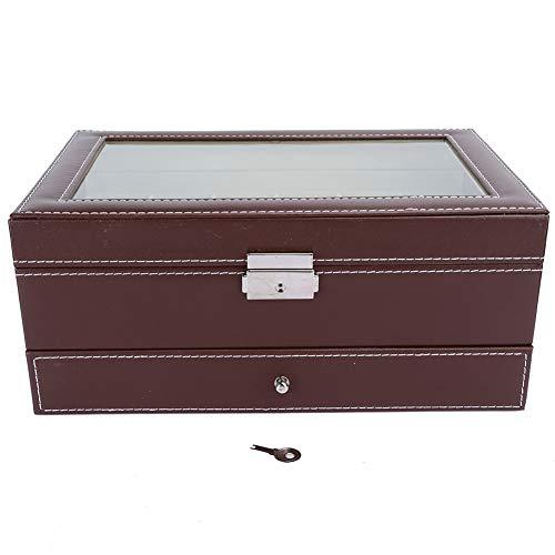 Caja de reloj con diseños de doble capa, 12 ranuras, caja de madera para reloj, organizador de joyas con cuero de PU y cojines de terciopelo extraíbles, caja de reloj con cerradura