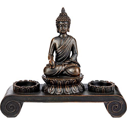 SVITA Buddha Figur Deko Statue Meditation inkl. Teelichthalter Buddhismus (Erfüllung Aller Wünsche)