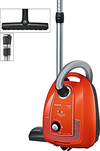 Siemens Staubsauger mit Beutel Plus Limited Edition iQ300 VSP3AAAA, Bodenstaubsauger, Hygiene-Filter, Bodendüse für Parkett, Teppich, Fliesen, langes Kabel, Fugendüse, 750 W, rot