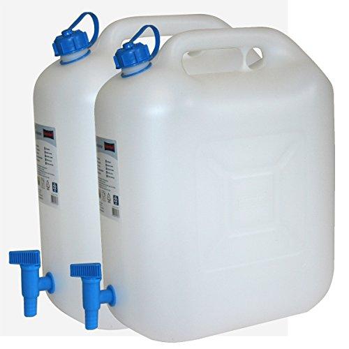 2x Wasserkanister ECO 20 Liter mit Hahn 2er Set Camping-Kanister Wassertank NEU