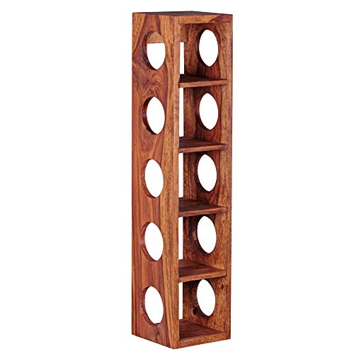KS-Furniture Weinregal Mumbai Massiv-Holz Sheesham Flaschen-Regal Wandmontage für 5 Flaschen Holzregal modern mit Ablage 70 cm