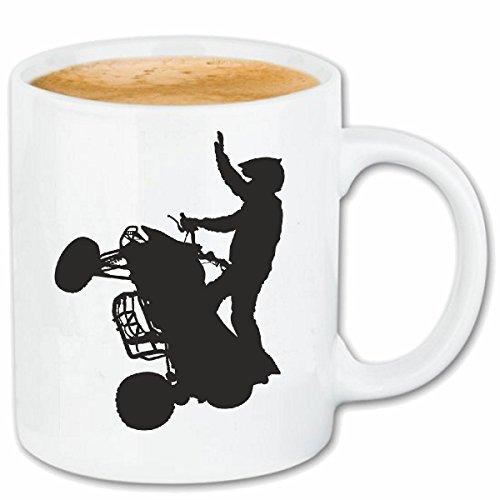 Reifen-Markt koffiemok Theekop QUAD SILHOUETTE RACE RACING FORMULA MOTOR SPEEDWAY TEAM SPEED CLASSIC AMERICAN Keramisch 330 ml in wit