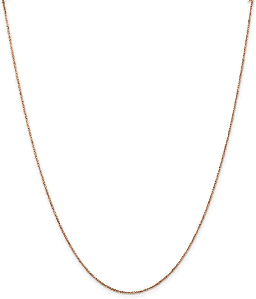 Chain Necklace 14K Rose Gold Ropa 16 in 0.7 mm .7mm