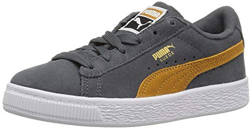 PUMA Baby Suede Classic Sneaker, Iron gate-Buckthorn Brown Team Gold, 8 M US Toddler