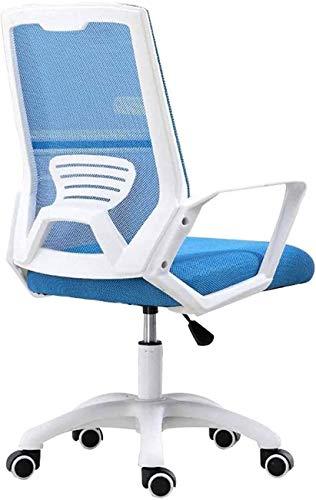 YUYANDE Sedia da Ufficio, Sedia Computer, Sedia da scrivania ergonomica Mezza Schiena la Sedia per Computer Portatili Aderente per la Poltrona Girevole rotolamento, per Ufficio, casa (Color : Blue)