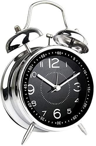 dh-13 Reloj Despertador Redondo de 4'Retro Doble Campana Temporizador Mecánico Sala Despertador de Escritorio, Azul Reloj Despertador Silencioso de Doble Campana de Metal de 4 Pulgadas, Azul