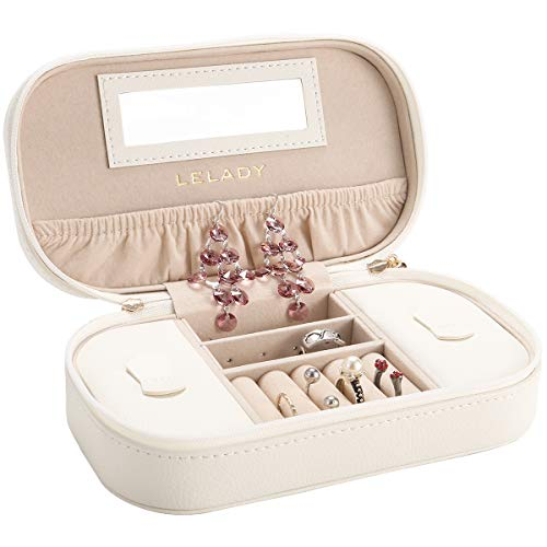 JL LELADY JEWELRY Small Jewelry Box Travel Jewelry Boxes Case Portable PU Leather Jewelry Boxes with Mirror for Women Girls (White)