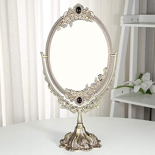Liapianyun Giratoria Circular de Doble Cara Antiguo Espejo de pie Espejo Oval en Espejo de Maquillaje Antigua/Mirada romántica,Latón