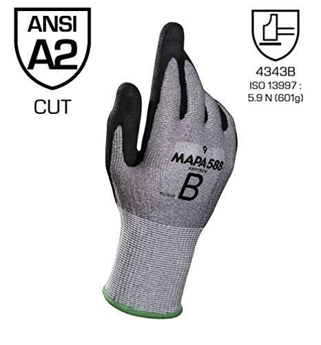 Mapa Professional krynit-588 GR-KABEL Lot de 10 gants de protection Noir (2)