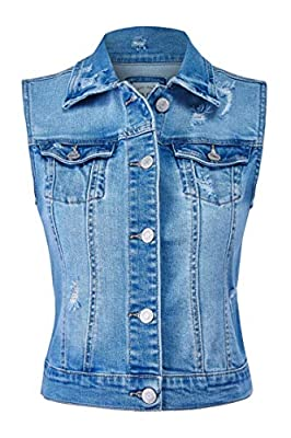 FashionMille Women Sleeveless Distressed Jean Denim Vest Jacket-FWV1037-MEDIUM-M