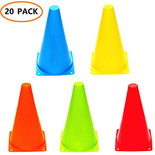 ANSLYQA Soccer Cones (9 Inch,20 Pack) Agility Training Sport Cone with Carry Bag for Kids Drills Football Basketball Field Markers,(5 Colors)