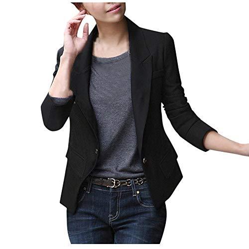VJGOAL Blazers para Mujer Botones Bolsillos de Solapa de Manga Larga Trajes Señoras Office Casual Slim Rebeca Abrigos Tops Chaqueta de Fiesta