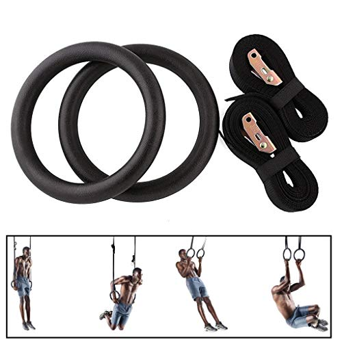 YORKING Gymnastic Rings Gym Ring with Straps Olympic Gym Rings for Upper Body Strength Bodyweight Exercising