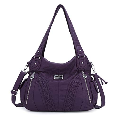 Angelkiss Women Top Handle Satchel Handbags Shoulder Bag Messenger Tote Washed Leather Purses Bag (PURPLE) …