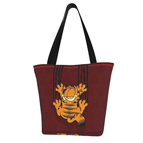 Tote Bolso de Mujer Niñas Gato de dibujos animados de Garfield Lona Bolso Mujer Grande Casual Bolso Bandolera Hombro Shopper Bolso Con Cremallera