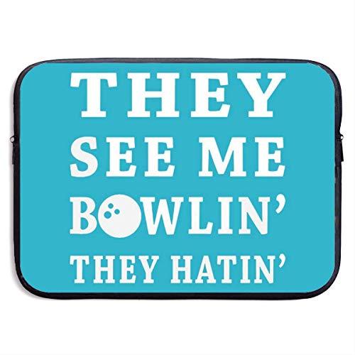 tyui7 Bowling Sport 27 15-Zoll-Laptop-Hülle Tragbare Tasche mit Zwei Reißverschlüssen Hülle Beutel Halter Tablet-Tasche, Schwarz