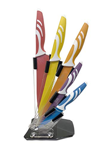 Five Piece Beginner Chef Essential Knife Set - My First Knife Set - Color Coded With Stand and Bonus Kitchen Scissors - Makes a Great Gift College Students Starting a Culinary Journey