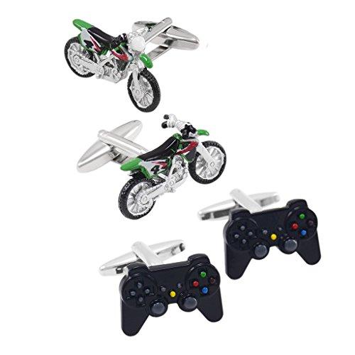 dailymall 2pcs Herren Video Game Controller Playstation Manschettenknöpfe Motorrad Manschettenknöpfe