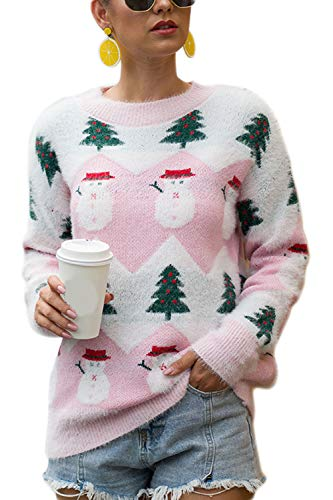 YACUN Donne Natale Snowman. Sudore Causale Lunga Sleeeve Pullover Topi Inverno Rosa XL