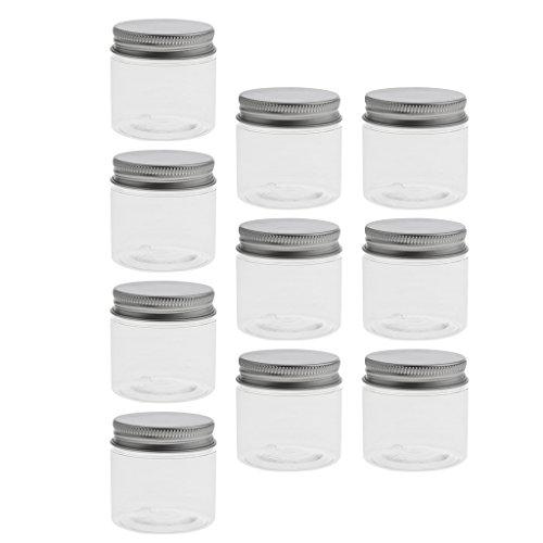 VANKOA 10x Pot Vide Cosmétique en Plastique Bocaux Cosmétique pour Stockage de Poudre de Maquillage avec Couvercles en Aluminium - 60ml