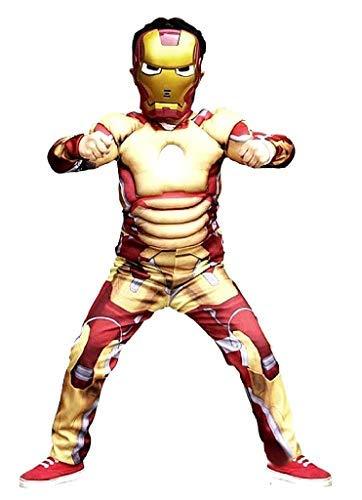Vestito di Carnevale da Iron Man Tuta intera con Muscoli e Maschera Costume da Uomo di Ferro Idea Travestimento bambini Taglia S 3-4 anni Cosplay Regalo Compleanno Natale x Appassionati di Supereroi