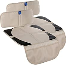 Funbliss car seat Protector for Child car seat Beige Thick Padding Carseat Kick Mat with Organizer Pockets,Waterproof 600D Fabric,Vehicle Dog Cover Pad for SUV Sedan Leather Seats(2 Pack)