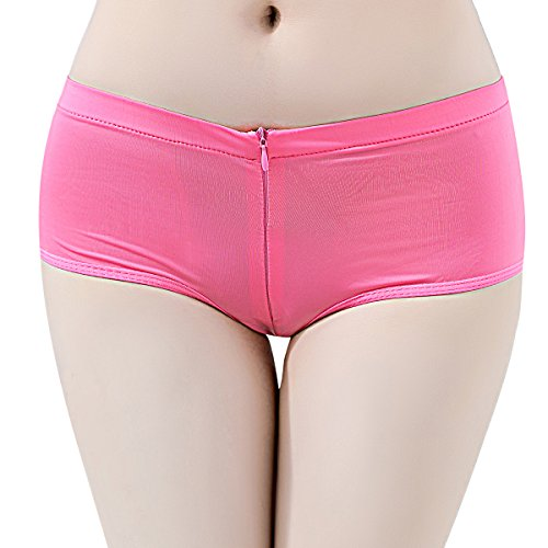IBTOM CASTLE Damen Hotpants Booty Shorts Ouvert-Slip mit Reißverschluss Pantys Unterwäsche Rüsche Strings Erotik Unterwäsche Bikinislip Rosa