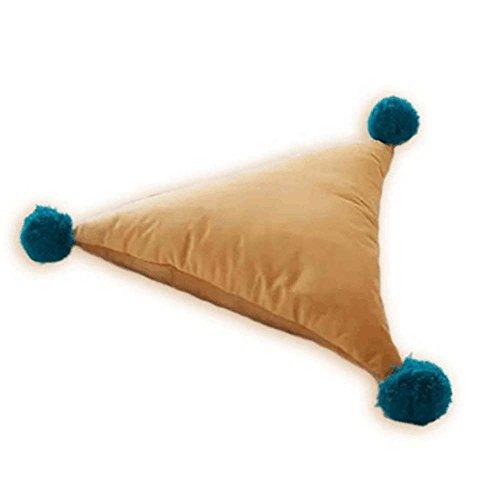 Metyou Coussin de taille amovible en forme de triangle avec pompons pour lit, canapé, voiture (orange)