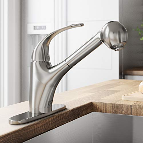VIGO Alexander Single Handle Pull-Out Spray Kitchen Faucet with Deck Plate, Stainless Steel