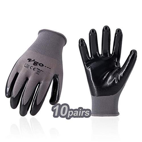Vgo 10 Paare Nitrilbeschichtung Handschuhe, Gartenarbeit, Fisch und Arbeitshandschuhe, ökonomisch (8/M, Grau, NT2110)
