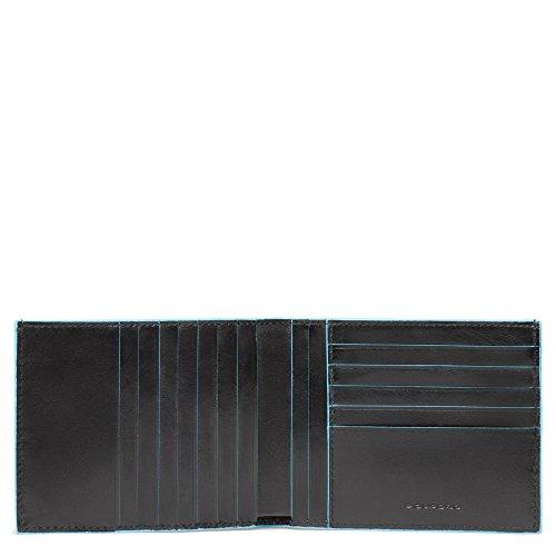 Piquadro Blue Square Portamonete con 12 Alloggiamenti per Carte di Credito, 12 cm, 0.43 litri, Nero