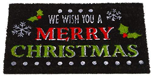 """Toyland® Seasonal Black Wir wünschen Ihnen EIN frohes Weihnachtsfest Coir-Fußmatte 66 cm x 35 cm (26""""x 14"""")"""