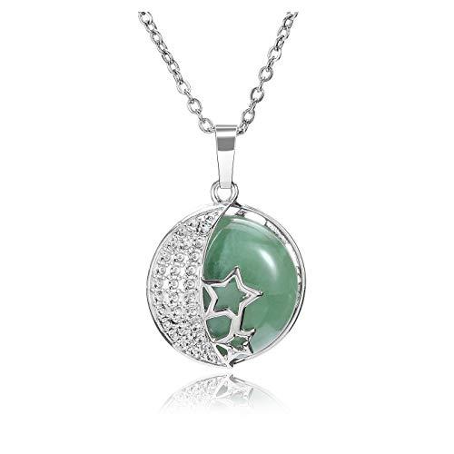 JSDDE Collar de cristal natural de aventurina verde y plata, estrella de la luna y la curación de piedras preciosas colgantes collares joyería
