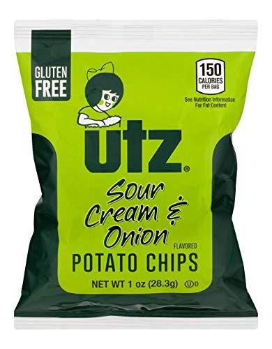 Utz Potato Chips, Sour Cream & Onion – 1 oz. Bags (60 Count) – Crispy Potato Chips Made from Fresh Potatoes, Crunchy Individual Snacks to Go, Cholesterol Free, Trans-Fat Free, Gluten Free Snacks