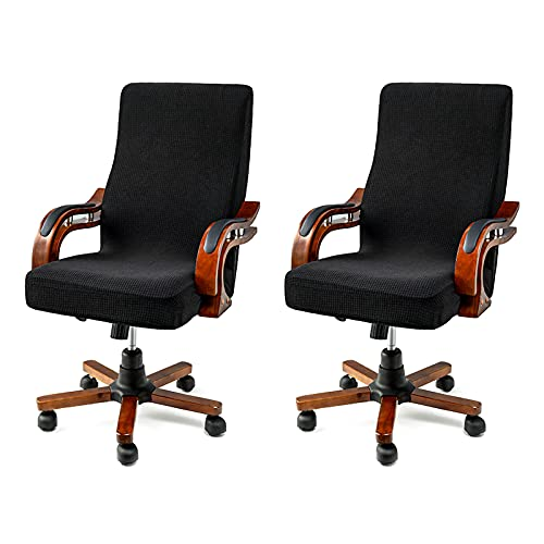 sorliva 2 Piezas Funda para sillas de oficina,funda de sillón elástica reposabrazos de silla Protector para sillas de escritorio, sillas giratorias, fundas para sillas de computadora(Negro, L)