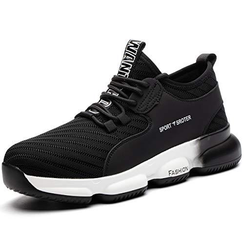 SROTER Chaussures de sécurité Homme Femmes Embout Acier Protection Chaussures de Travail Légèr Basket Securite Respirantes Unisexes,02 Noir Blanc,43 EU