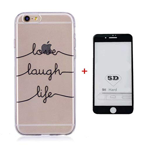 Funda iPhone 6/6S Case + 5D Protector de Pantalla de Vidrio Templado Lanpangzi TPU Silicona Ultra Suave Transparente Anti-rasguños Cover - Carta