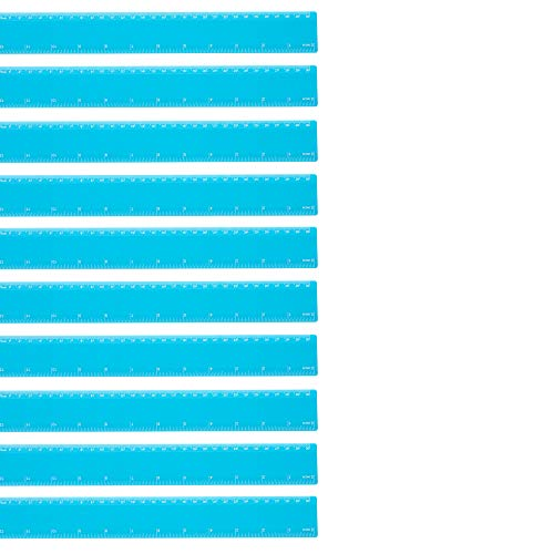 eBuyGB onbreekbaar plastic 12 inch meetliniaal gereedschap Pack of 10 Lichtblauw