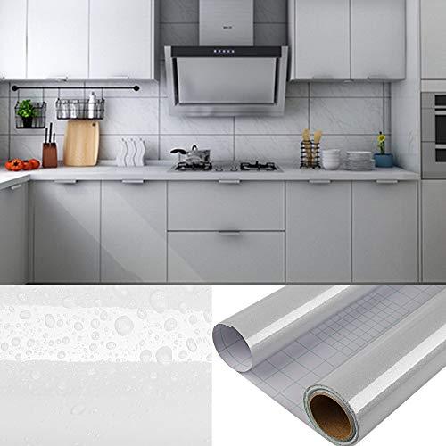 DTC 6M x 0,61M PVC Selbstklebend Tapete Küchen Aufkleber, Freier Schaber, Wasserfest Schrank Fensterbank folie Tapeten Vinyl für Wände Wand Türen Möbel Deko, 600 x 61cm Grau