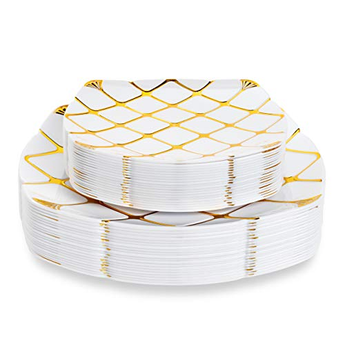 40 Platos de Plástico Duro Blanco con Patrón Dorado - 20 Platos de Fiesta Grandes, 20 Platos de Postre - Elegante, Resistente y Reutilizable.