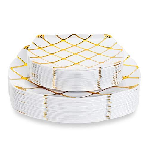 Matana 40 Platos de Plástico Duro Blanco con Patrón Dorado - 2 Tamaños