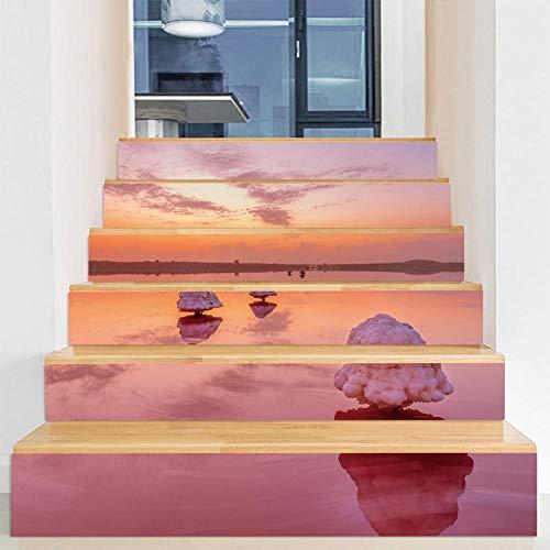 Pegatinas de escalera DIY autoadhesivas impermeables extraíbles para gabinetes de cocina, escaleras, baño, cocina, decoración del hogar (100 x 18 cm x 6 piezas) superficie del mar