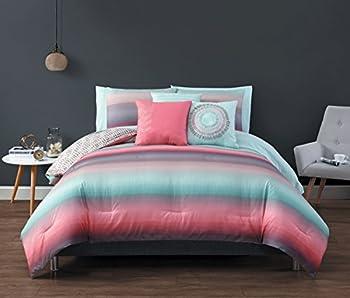 Avondale Manor Cypress 10-Piece Comforter Set Queen Coral/Blue