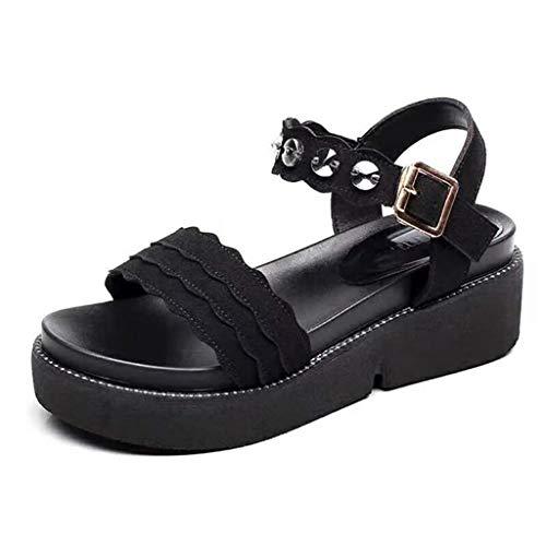 Cuidado Sandale Plateforme Femme Eté Mode Bout Ouvert Claquette Antidérapant Décontractée Mules Femme Compensees Noir