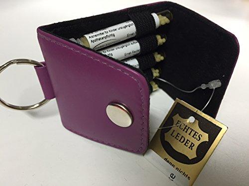 Schlüsselanhänger-Kinder-Taschenapotheke,brombeer,-PORTOFREI-,5 Mittel á 1,2g Globuli in UV-Schutzglas-Röhrchen in wertvoller Ledertasche mit Strahlen-Abschirmung