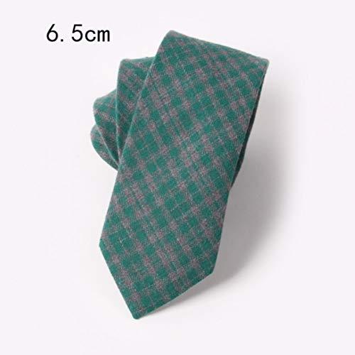 ZJWLL 6.5Cm Coton Mince Cravate pour Homme Jaune Vert Plaid rayé Cravate de Couleur Unie, adapté pour Les Hommes d'affaires Accessoires Cadeaux, D28