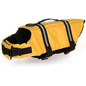 HAOCOO Dog Life Jacket Vest Saver Safety Swimsuit Preserver with Reflective Stripes/Adjustable Belt Dogs?Yellow,L
