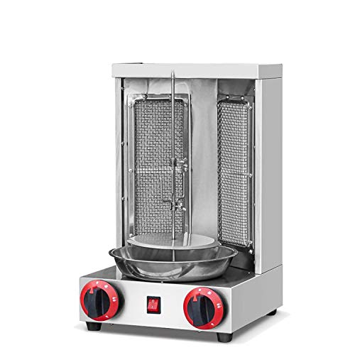 Shawarma Grill Machine Lpg Gas Doner Kebab Machine Gyro Grill Machine Vertical Broiler with 2 Burner For Commercial home Kitchen Commercial Rotisseries